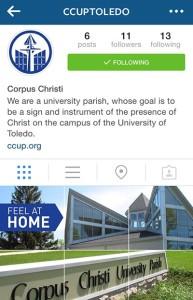Follow Corpus Christi on Instagram: @CCUPtoledo.