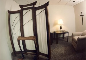 The Reconciliation Chapel is inside the Daily Chapel and offers the opportunity for either anonymous or face-to-face celebration of the Sacrament in a prayerful setting.